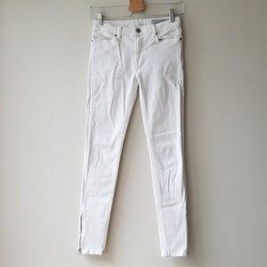 All Saints Sz 27 Rail White Ankle Zip Skinny Jeans